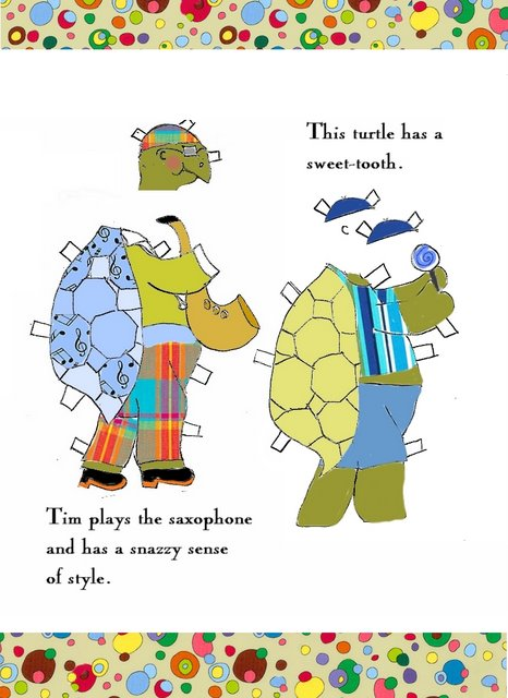 Tim the Great Green Groovy Turtle Paper Doll Plays Saxophone and has a Sweettooth preview jpg