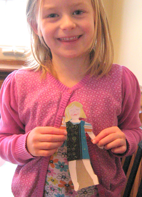 A friend shows off the clothes she made herself for her DIY-doll